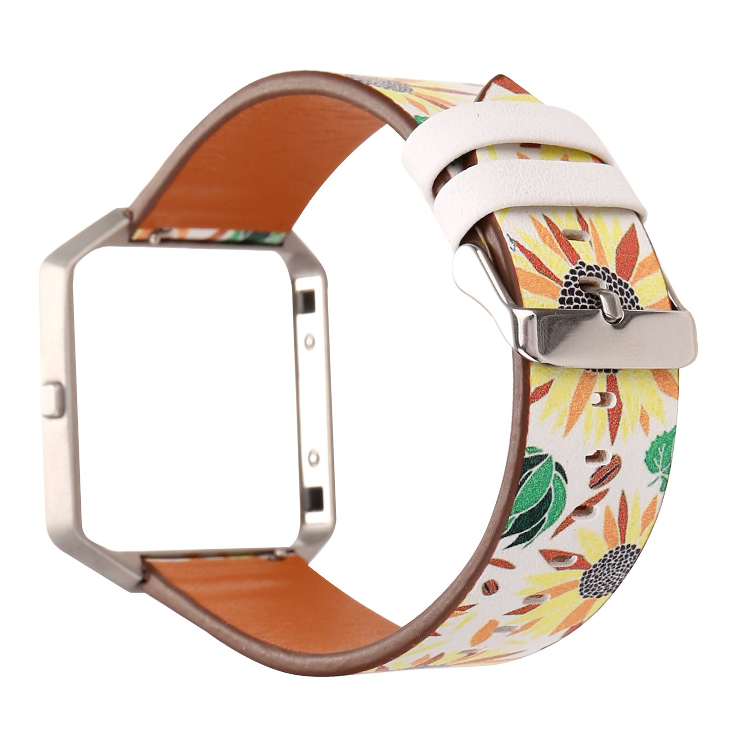 MeShow TCSHOW Soft PU Leather Pastoral/Rural Floral Style Replacement Strap Wrist Band Silver Metal Adapter Compatible Fitbit Blaze (R)