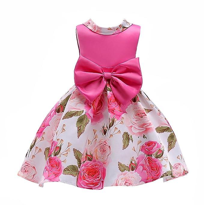 Vestito Bambina Rosso Abito Fiori Cerimonia Desigual Dress Elegante da  Comunione Compleanno Festa Abiti Ballo Frozen Damigella Vestiti a Pieghe  Carino ... 343ad283ab0