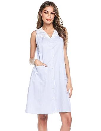 dbf07d25d11 Ekouaer Sleepwear Womens Button Down Sleeveless House Dress Long Nightgown  Small Blue