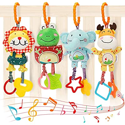 HOSPITALAR LTDA Baby Toys for 0, 3, 6, 9, 12 Months, Handbells Baby Rattles with Teethers Soft Plush Early Development Stroller Car Toys for Infant, Newborn Birthday Gifts, 4 Pack: Toys & Games
