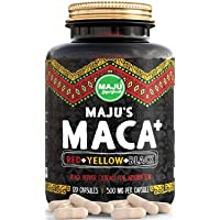 Strongest Maca Capsules, Organic Black, Yellow & Red Root w/Black Pepper Extract...