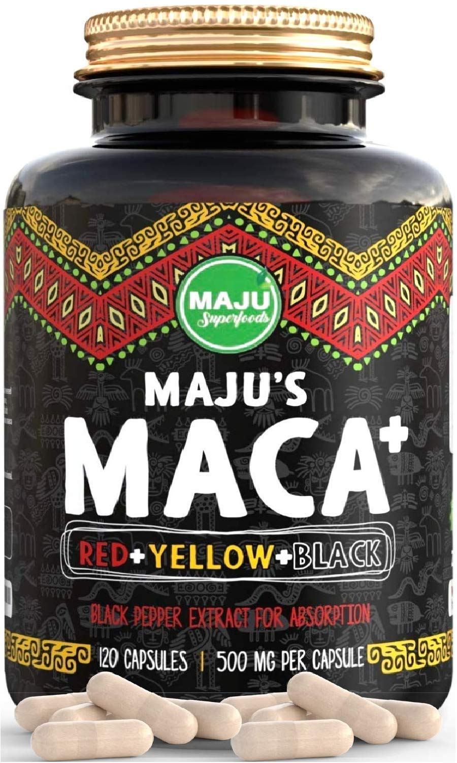 Strongest Maca Capsules, Organic Black, Yellow