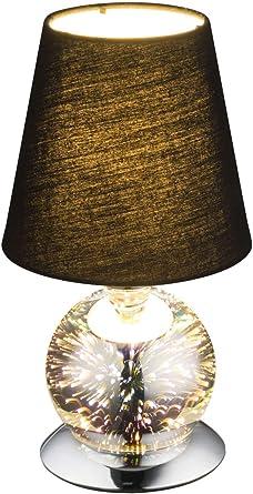 Nachttischlampe Stoffschirm Textil Lampenschirm Braun Tischleuchte mit Stoff