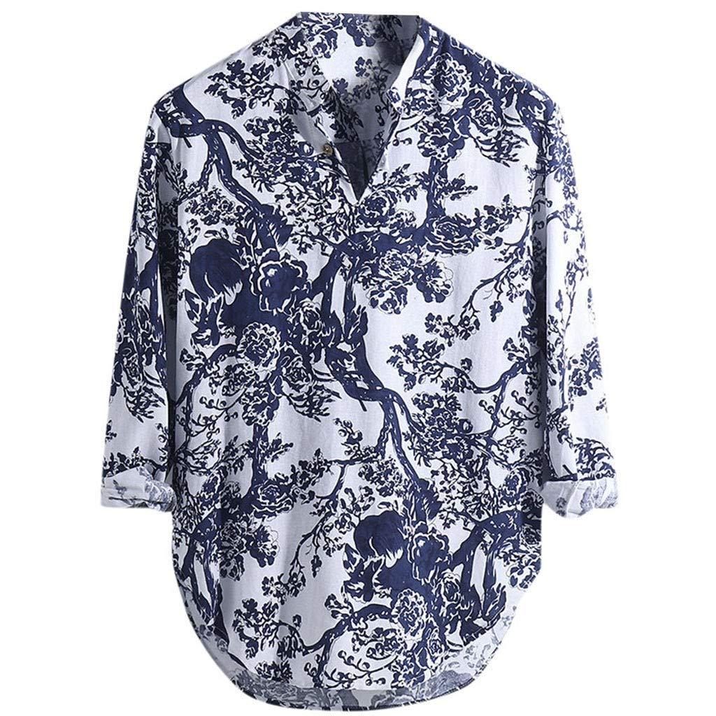 nightfall Funky Hawaiian Shirt Men Shortsleeve Tropical Trees Print Button Down Loose Tops Shirts