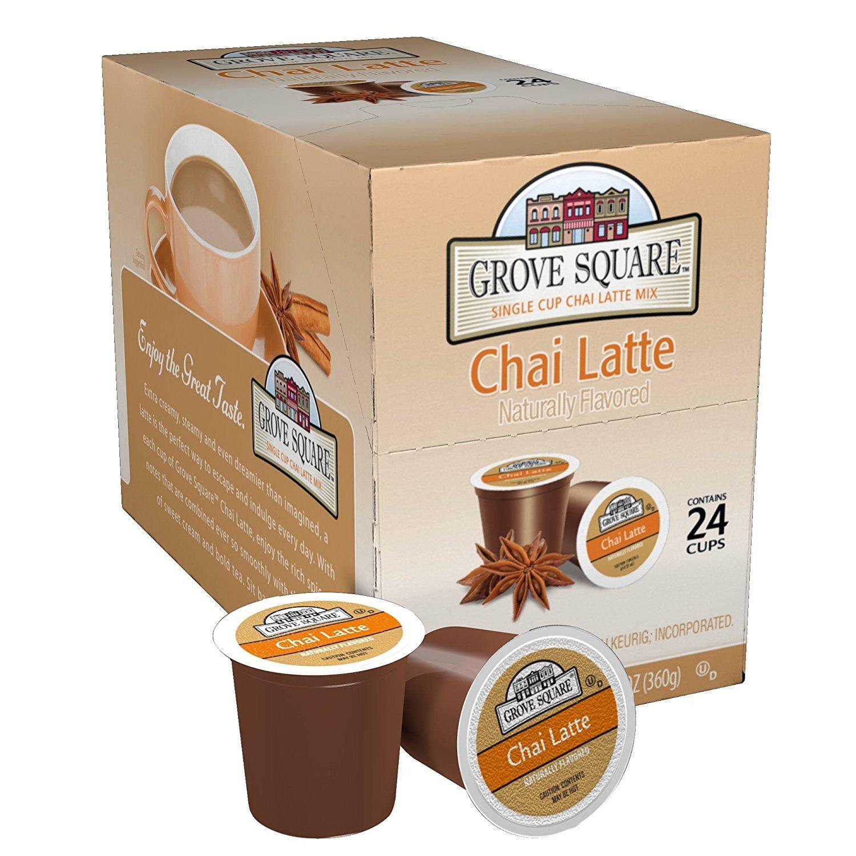 Grove Square Tea, Chai Latte, 24 Single Serve Cups (Pack of 4)