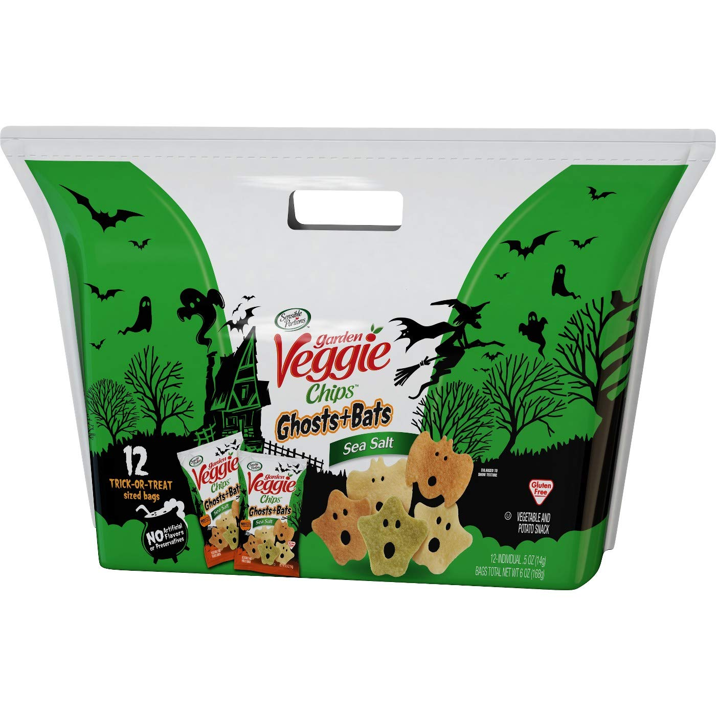 Garden Veggie Chips - Halloween Treat Bags - Shapes of Ghosts & Bats - Sea Salt Flavored 12 - .5 Oz Bags by Sensible Portions