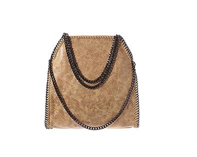 50a4c7f4a03ae Damen PU lässigen Angleliu Kette Handtasche Modisch Schultertaschen Glitzer  Beuteltasche (Beige Farbe)