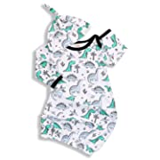 Newborn Sleeper Gowns,Baby Boys Girls Nightgowns Cap Sleepwear Sleeping Bag Swaddle Blankets Coming Home Outfit (Green & Dinosaur, 6-9 Months)