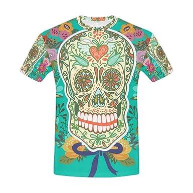 ed3cd4ec6cc7c3 Amazon.com  Sugar Skull Dia De Los Muertos Men s All Over Print T ...