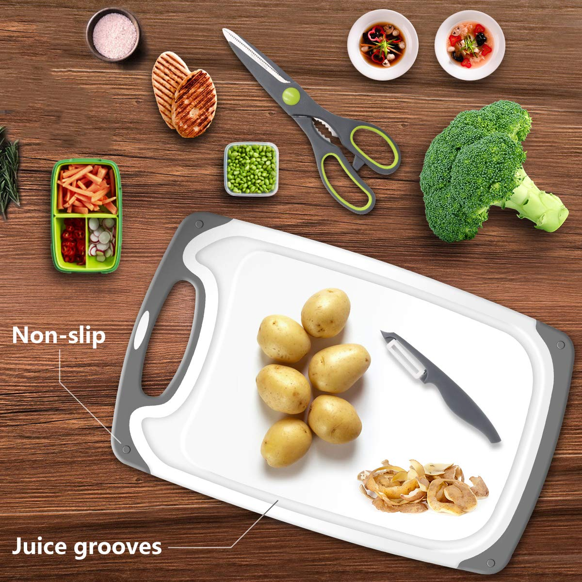 SKERITO Chopping Board Set BPA Free Plastic Kitchen Cutting Boards with Feet