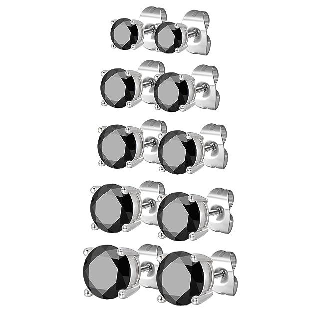 JewelrieShop Stainless Steel Stud Earrings Set for Women, Hypoallergenic Nickel-free Piercing Cubic Zirconia Stud Earrings 5 Pairs 3-7mm