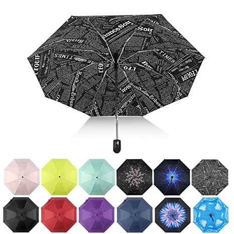 ab2faa35504f Automatic Travel Umbrella Compact Mini Umbrella Windproof Folding Umbrellas  (Newspaper)