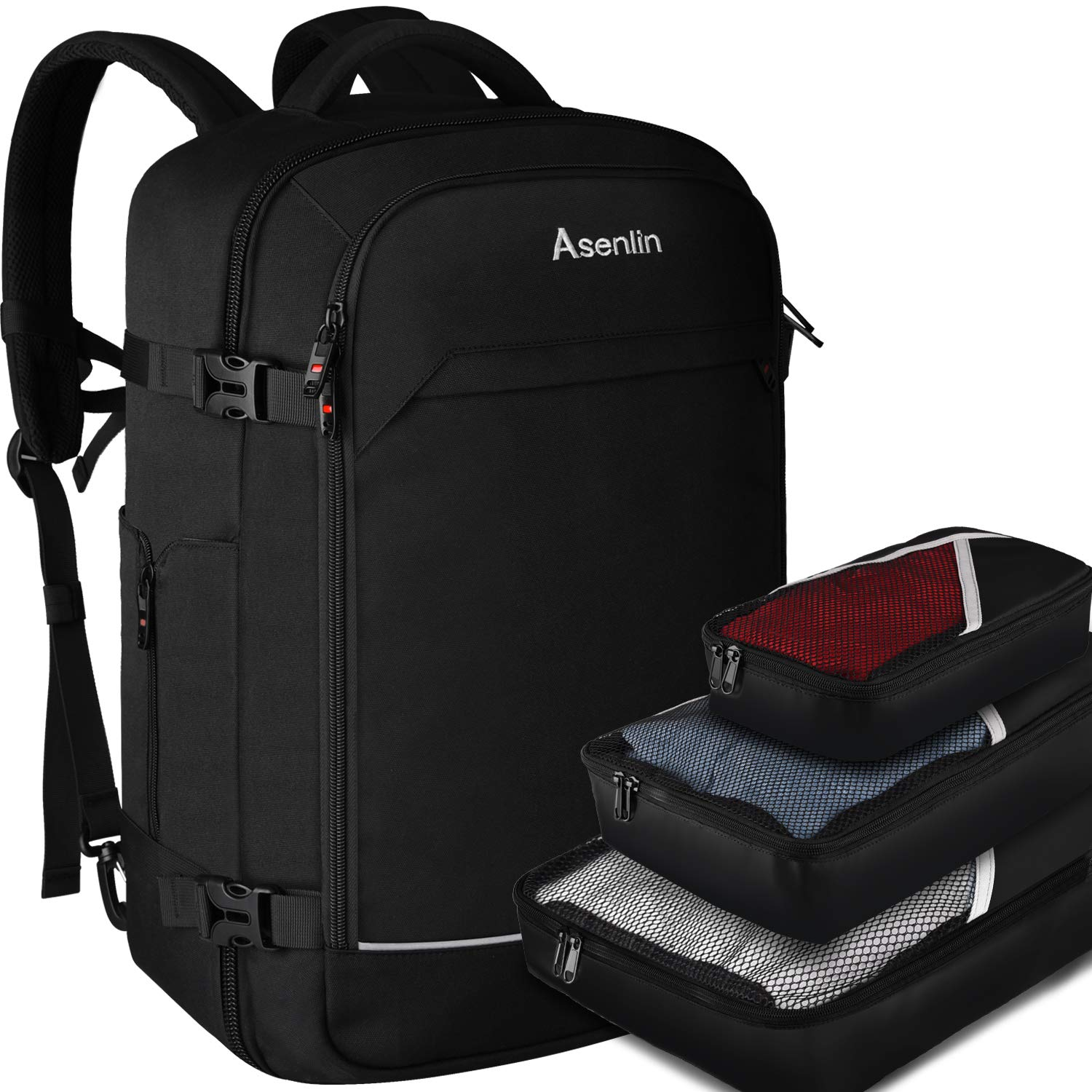 Travel Backpack 40Liter Flight Approved Carry on Backpack Duffle Laptop Rucksack Large Daypack Weekender Bag Overnight Backpack for 17'' Laptop - with 3PCS Packing Cubes (40L with 3 Cubes) by Asenlin