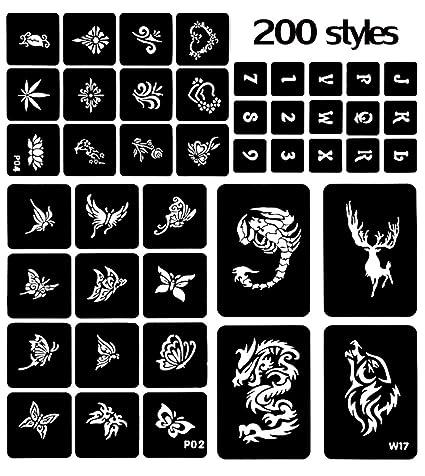 200 Designs Aerógrafo Glitter Tattoo Stencil Henna Hollow