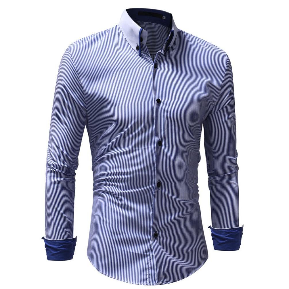 Manches Longues Ray/é Homme Chemise Slim Fit