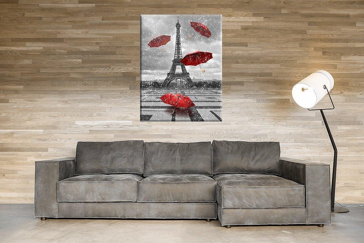 Cuadro abstracto Torre Eiffel Paris paraguas Reclamo rojas ...