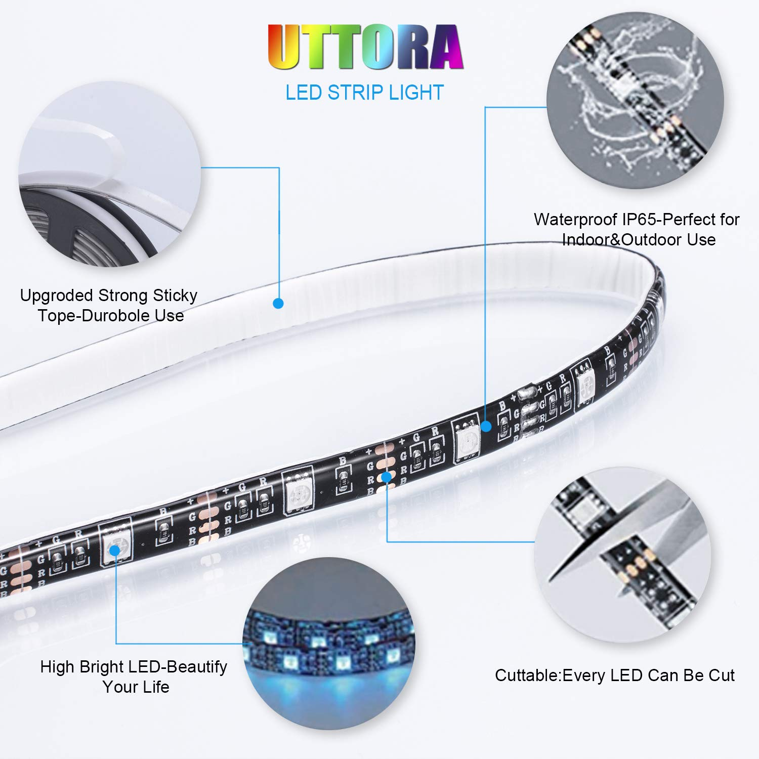 LED TV Backlight,UTTORA 2M USB Remote Control LED Strip Lights with 16 Colors & 4 Dynamic Mode for 40 to 60 Inch HDTV, PC Monitor, Flat Screen TV [Energy Class A+]