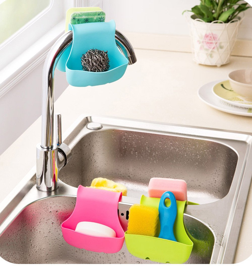 MOVEmen Home Kitchen Tools, Storage Box Sponge Holder Rack Tool Double Sink Caddy Saddle Style Kitchen Organizer Storage Shelf Kitchen Sink Drain Tool Wall Paste Bathroom Shelf (Green)