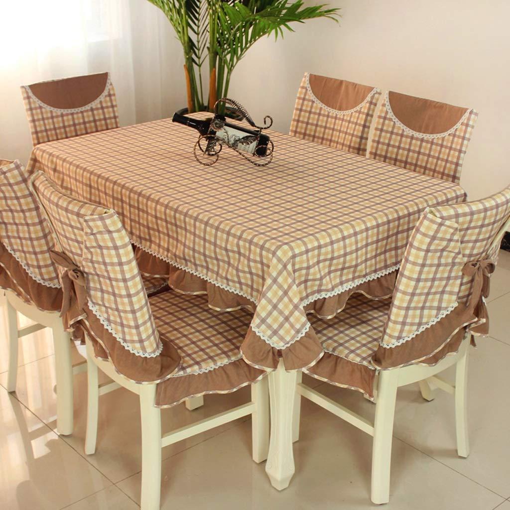RFQL テーブルクロス、テーブルカバー 長方形のテーブルクロス、家庭用モダン、布製テーブルカバー、ダイニングチェアカバー付き、6色 (色 : Coffee color B, サイズ さいず : 4 chairs+150*150cm) 4 chairs+150*150cm Coffee color B B07S51PZ8C
