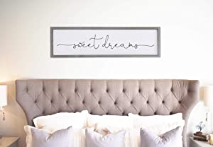 DKISEE Sweet Dreams Wall Art, Sweet Dreams Sign, Bedroom Wall Decor Farmhouse Bedroom Sign Wall Sign Home Decor 5.9x20 inches