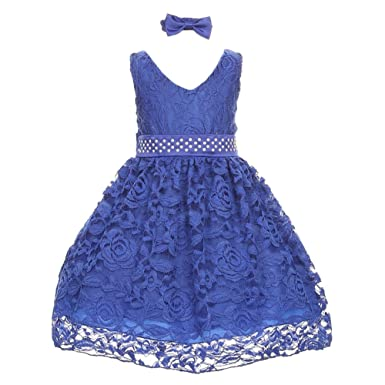 a6d9a283ad8 Baby Girls Royal Blue Rose Lace Overlay Beaded Waist Christmas Dress ...