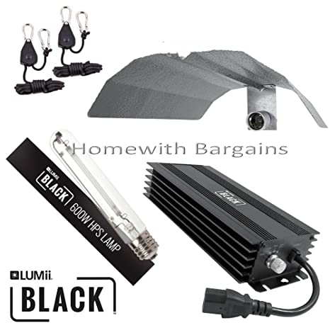 Lumii Black Magnetic Kit 600W Grow Light Hydroponic Lamp Ballast Reflector j
