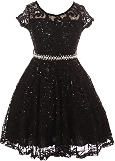 3845e04c1dfbf BNY Corner Cap Sleeve Floral Lace Glitter Pearl Holiday Party Flower Girl  Dress