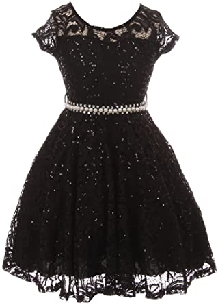 094ccc405 BNY Corner Little Girl Cap Sleeve Floral Lace Glitter Pearl Holiday Party Flower  Girl Dress Black