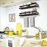 Soraken Floating Shelves, Wall Shelves Wall Mounted Bathroom Shelf, Rustic Wood Wall Storage Shelves for Kitchen, Bathroom, Living Room and Bedroom Set of 2 with Removable Towel Holder-Vintage Black