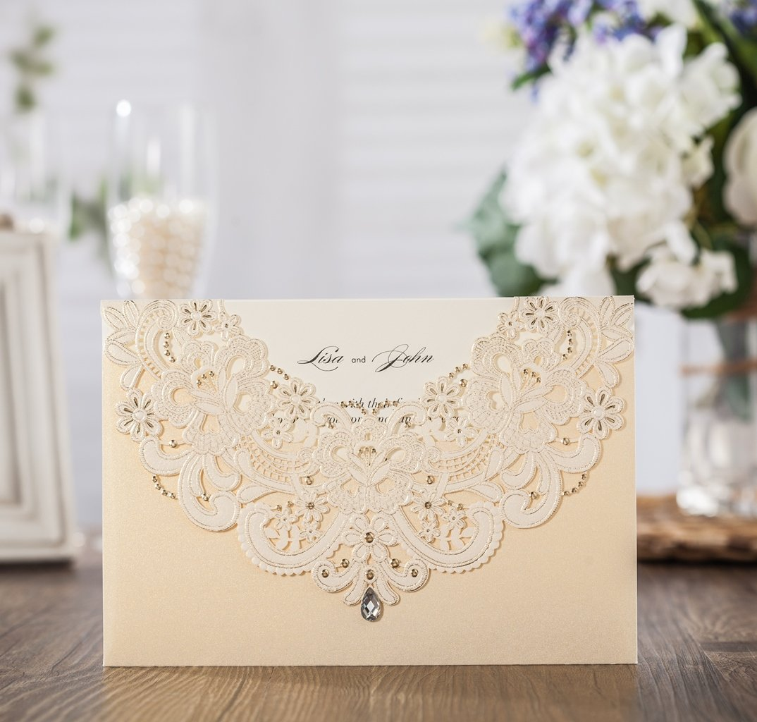 Amazon.com : Wishmade 1x Laser Cut Lace Invitations Cards Kit With ...
