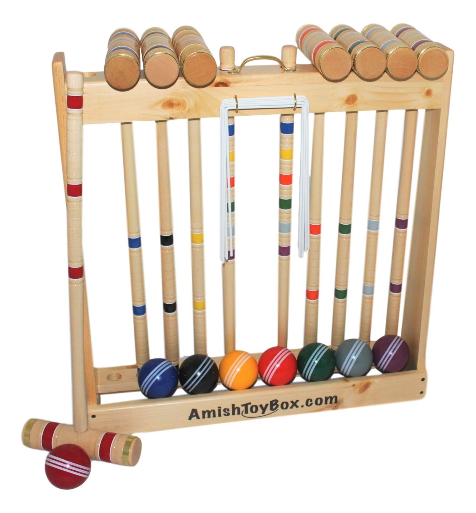 Amish-Made Deluxe Wooden Croquet Game Set, 8 Player (32'' Handles) by AmishToyBox.com