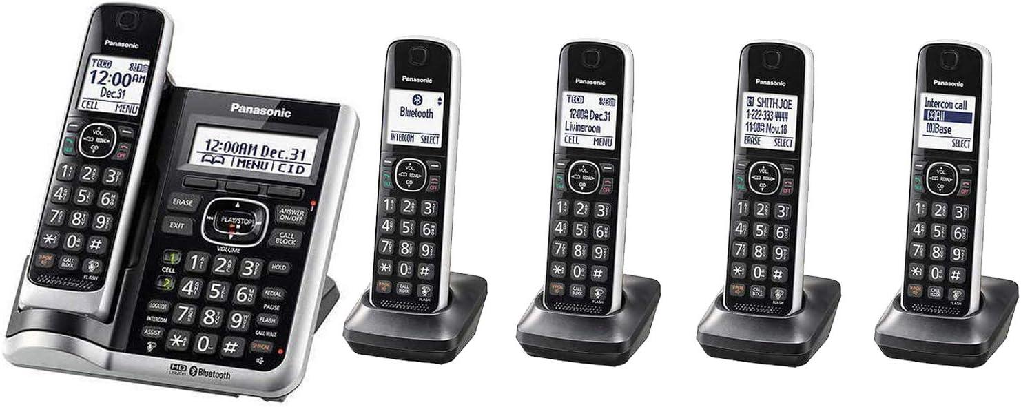 Panasonic KX-TGF675B (5) Handset Cordless Phone Answering System Bluetooth link2Cell DECT 6.0 Talking Caller ID Base KX-TG885SK (Renewed)