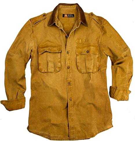 Outdoor Camisa de hombre, overshirt en marrón, azul y verde de algodón resistente con cuello de piel, camiseta de manga larga de Cacatúa Australia, hombre, color mostaza, tamaño extra-small: Amazon.es: Deportes y