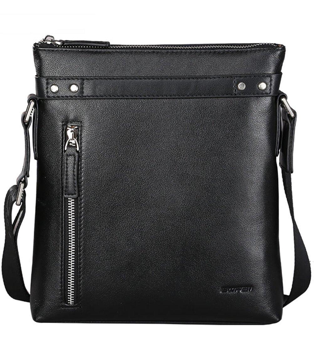 Bopai Genuine Leather Messenger Bag Shoulder Bag Crossbody Bag for Businessmen (Black 2)