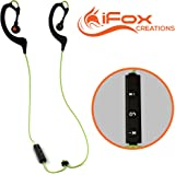 iFox iFE2 Bluetooth Sports Earphones with Built-in Mic for iPhone, iPad, iPod, Android Smartphones, Tablets, Computers, MP3 Players - Sweatproof Wireless Comfort Fit Design with Volume Control