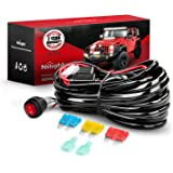 Nilight Wiring Harness Kit 14AWG Heavy Duty 12V On-Off Switch Power Relay Blade Fuse for Off Road LED Work Light Bar-ONE Lead
