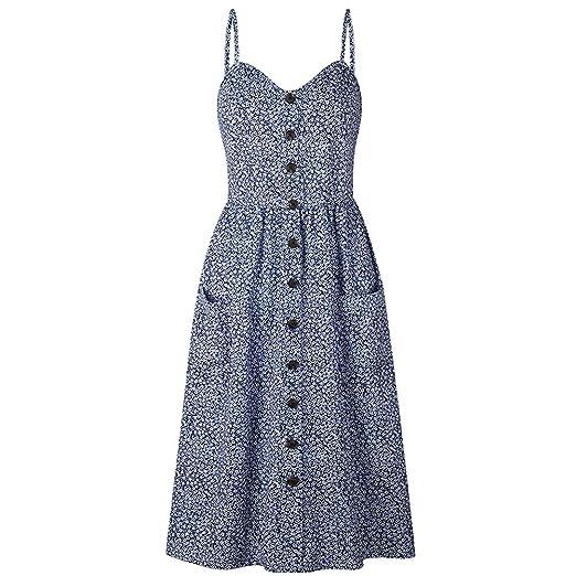 Luxsea Womens Elegant Dress Floral Sleeveless Ladies Spaghetti Strap Empire  Sundress Long Dresses c61eae491