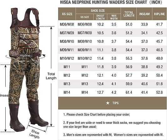 HISEA Waterproof Hunting /& Fishing Waders Neoprene Insulated Rubber Boots Waders