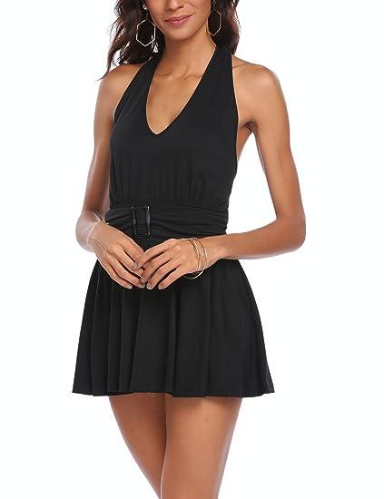 cd2433ee18f Zeagoo Women s Halter Neck Backless Sexy Short Party Dress Sleeveless  Bodycon Dress Black S