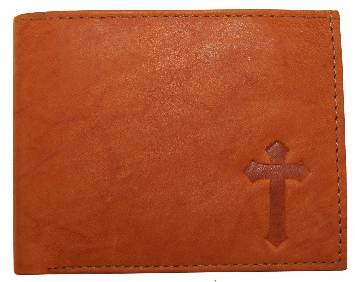 Cross Mens Genuine Leather Christian Jesus Cross Ichthys Symbol Trifold Wallets