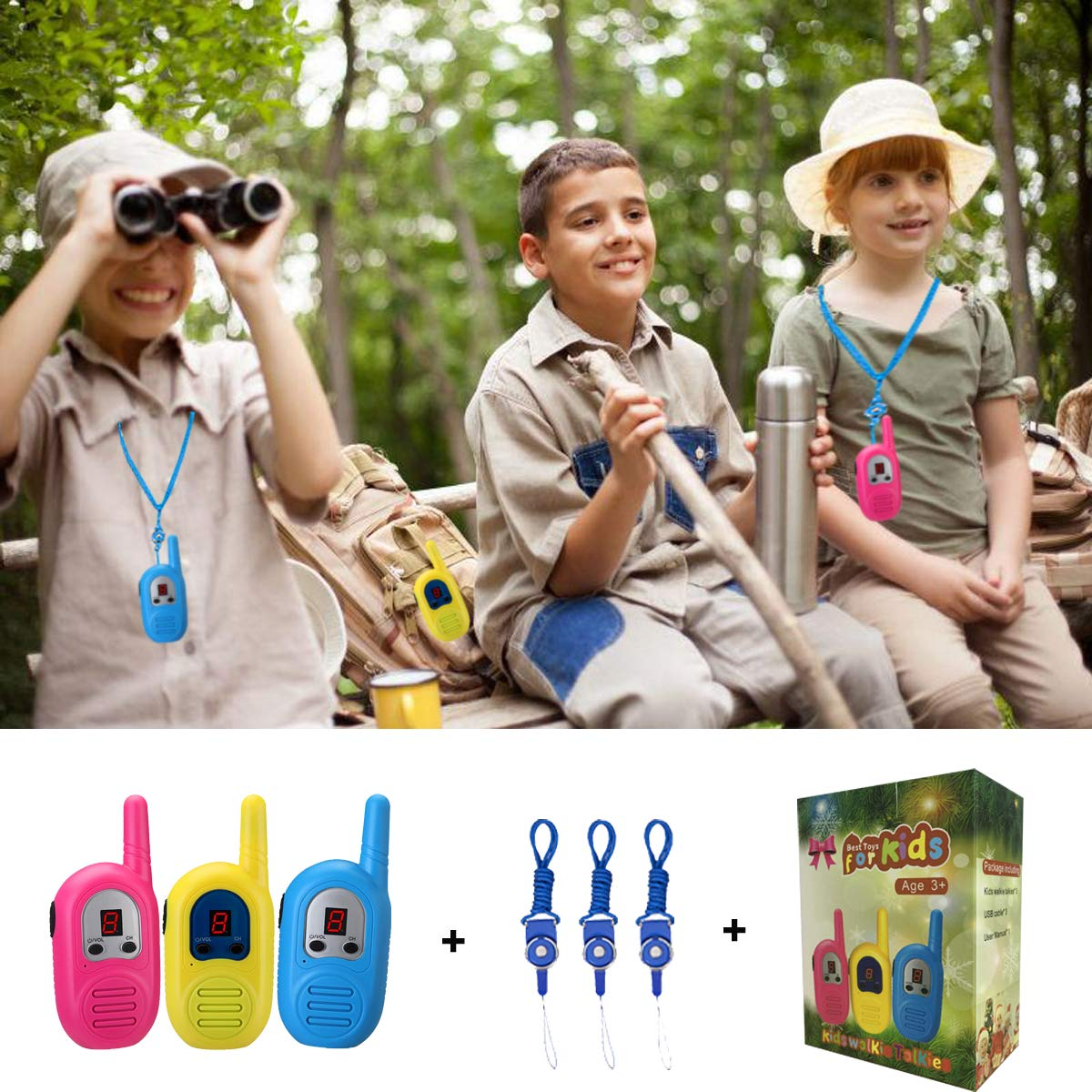inYYTer Walkie Talkies for Kids 3 Pack, 2 Mile FRS Walkie Talkies with Rugged Sports Design , Micro USB Rechargeable Kids Walkie Talkies, 2 Way Radio Toy for Outdoor Games, Hiking, Birthday Gifts by inYYTer (Image #8)