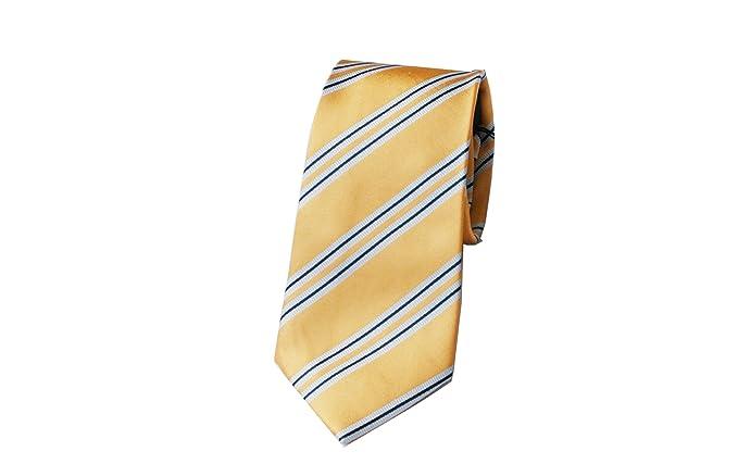 Corbata amarilla rayas azules, fabricacion artesanal, 100% Seda ...