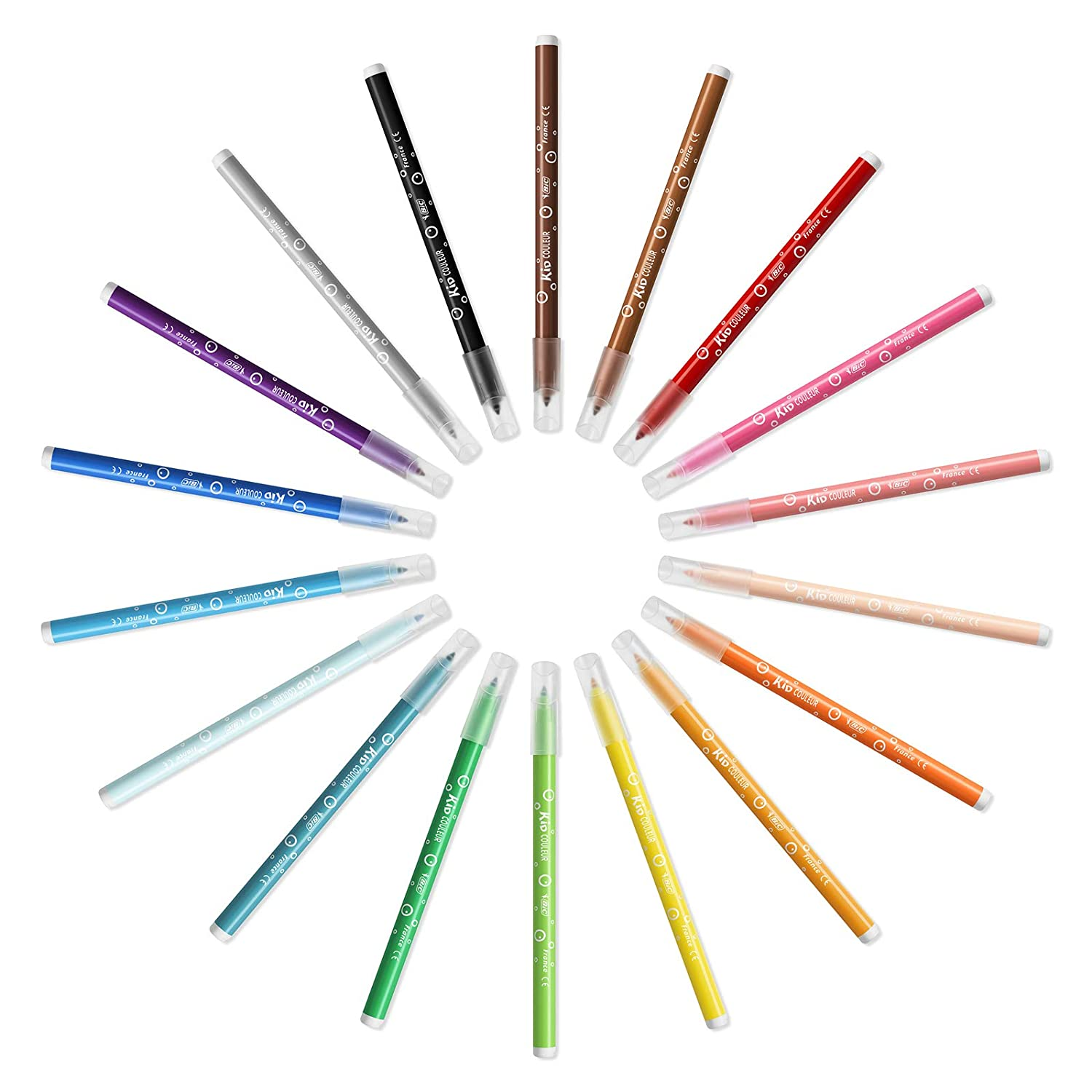 Christmas Edition Pack of 18 Assorted Colours BIC Kids Kid Couleur Felt Tip Colouring Pens Medium Point