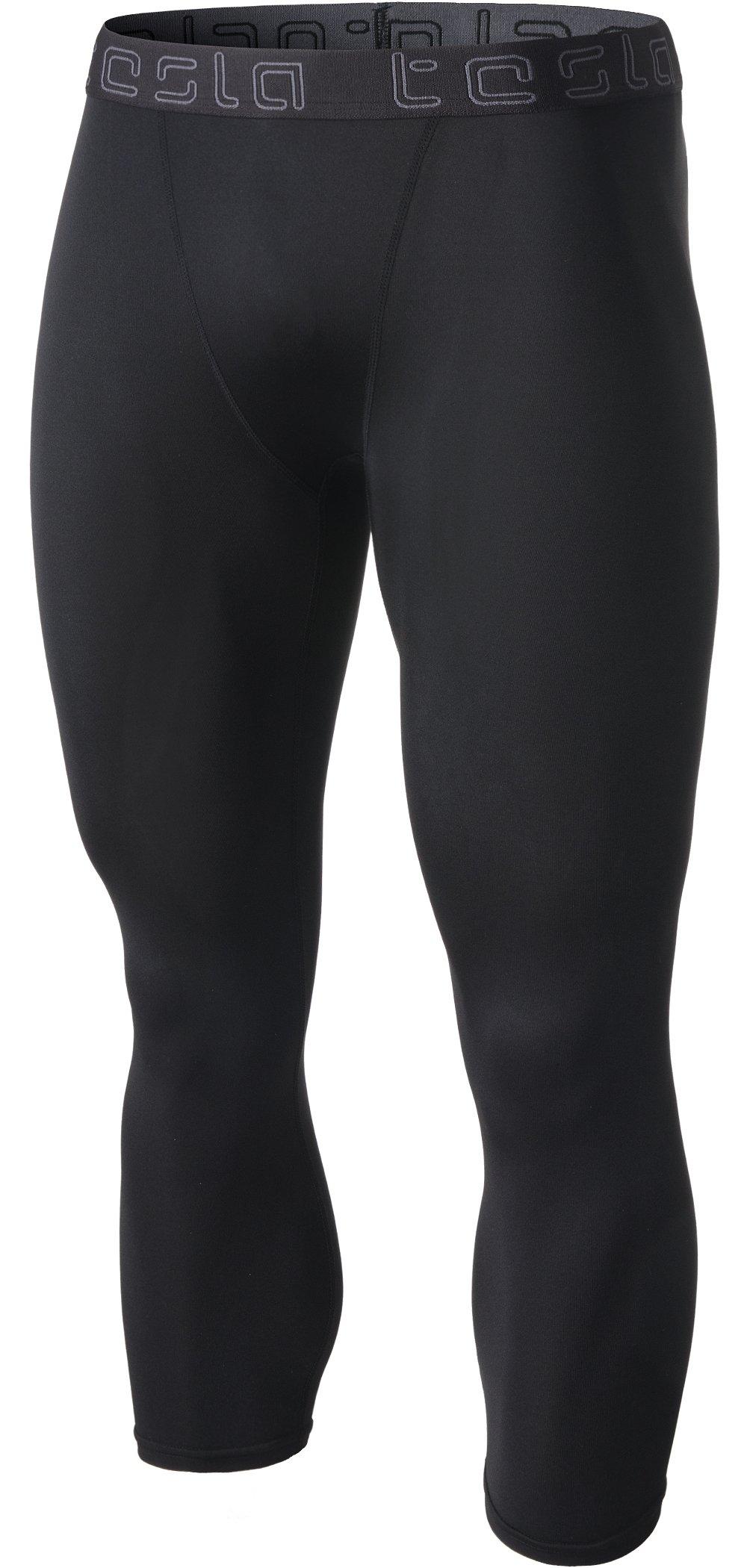 TSLA Men's Compression 3/4 Capri Pants Baselayer Cool Dry Sports Running Yoga Tights, Basic(muc08) - Black, Large by TSLA