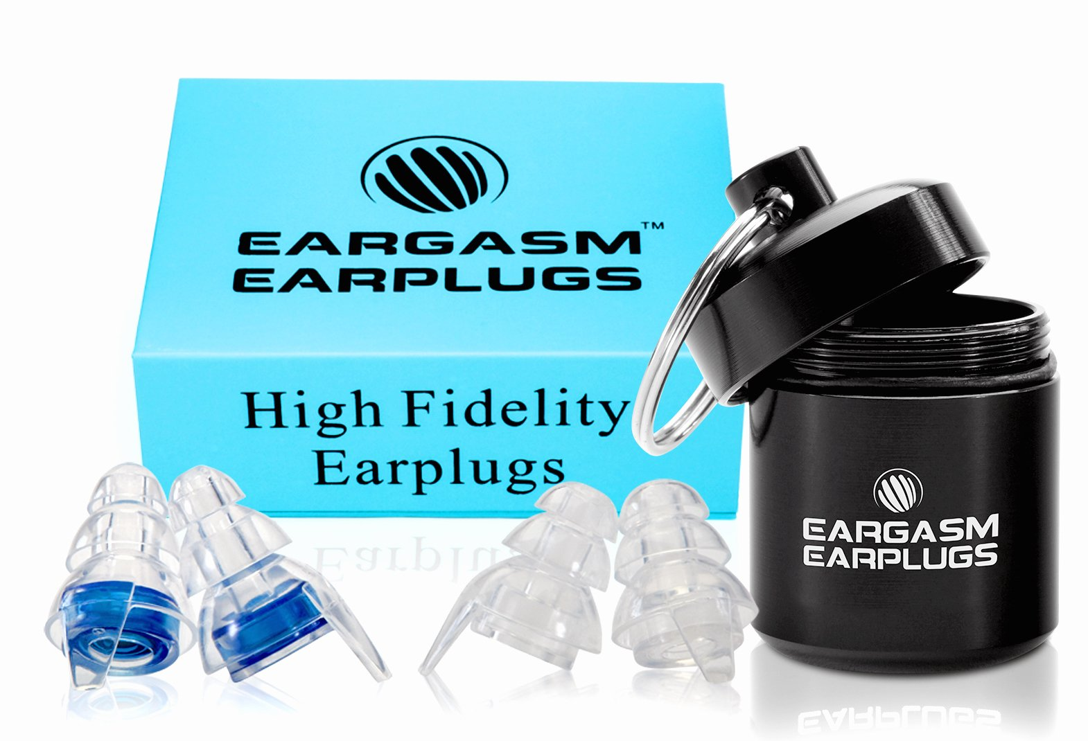 (As Featured in the New Movie Book Club) Eargasm High Fidelity Earplugs for Concerts Musicians Motorcycles Noise Sensitivity Conditions and More (Ear Plugs Come in Premium Gift Box Packaging) - Blue