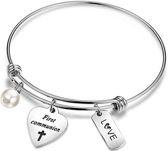 Engraved Boys Girls Christening Baptism First Holy Communion Bracelet with Charm