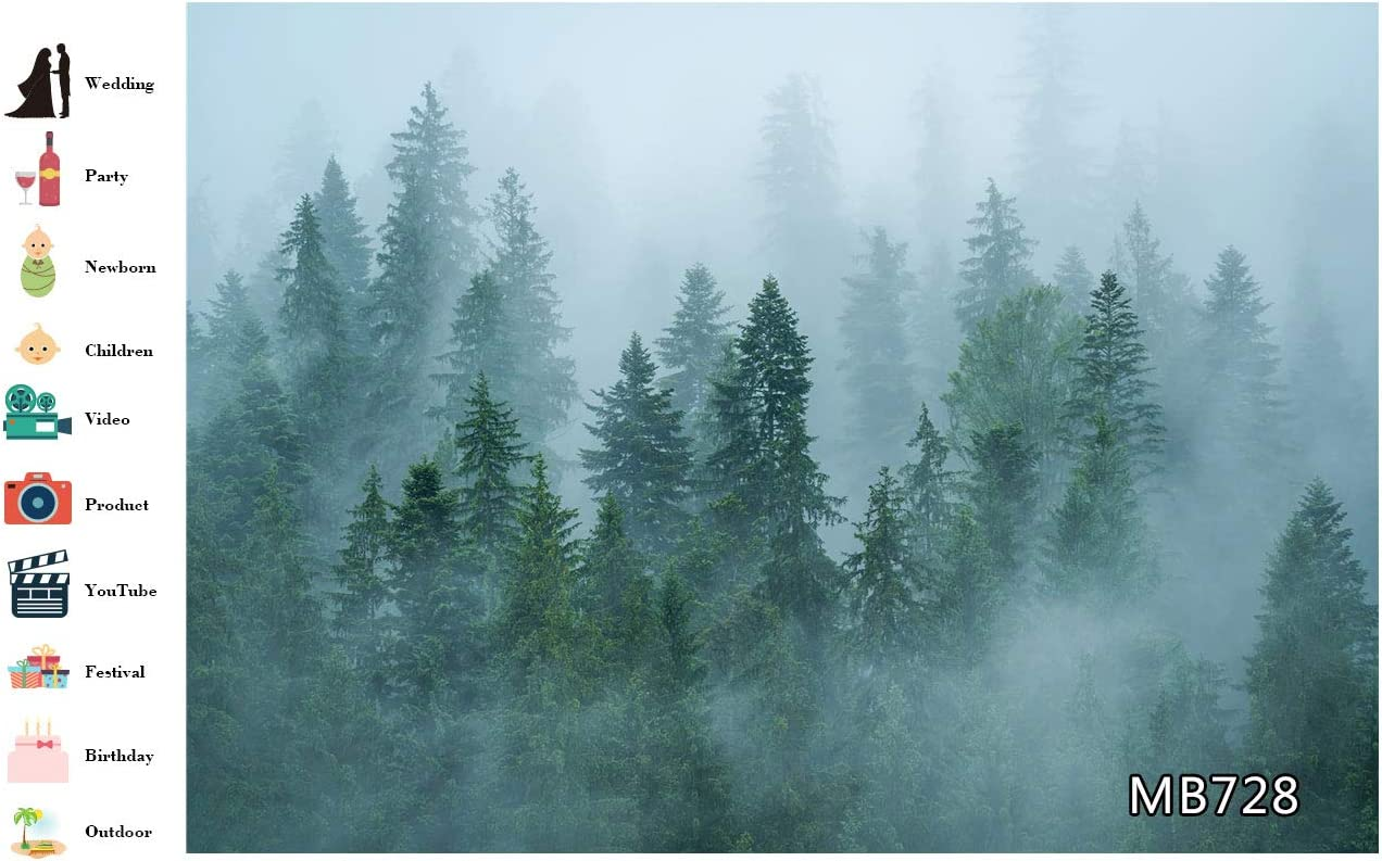 LB Foggy Forest Backdrops for Photography 10x8ft Green Jungle Pine Tree Wallpaper Natural Landscape Tapestry Photo Background Customized Photoshoot Props