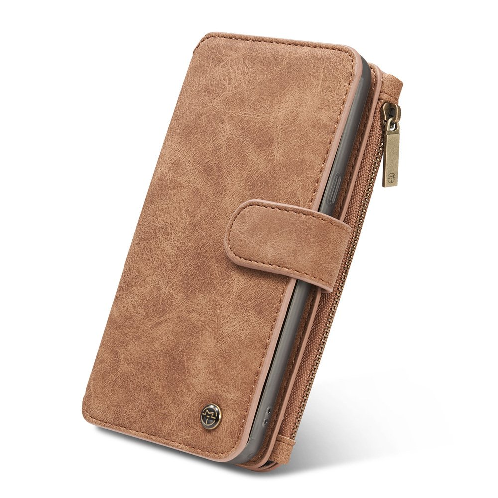 elecfan Galaxy S8 Plus Wallet Case, Zipper Magnetic Protective Billfold Cover with Credit Card Slots Money Pocket Sleeve Pouch for Samsung Galaxy S8 Plus 6.2 inch Phone (Light Brown)