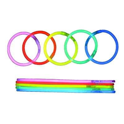 100 Bâtonnets Glow Premium avec 100 Connecteurs de Bracelets pour les Fêtes, Bracelets de Bâton de Lueur de 5 Couleurs Mélangés dans Un Paquet, Bâtons Lumineux pour la Fête