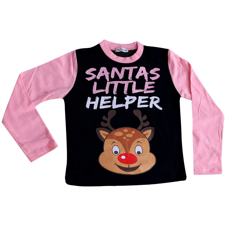 Kids Girls Boys Reindeer Rudolph Santas Little Helper Pyjamas Xmas Pjs Set 2-13Y